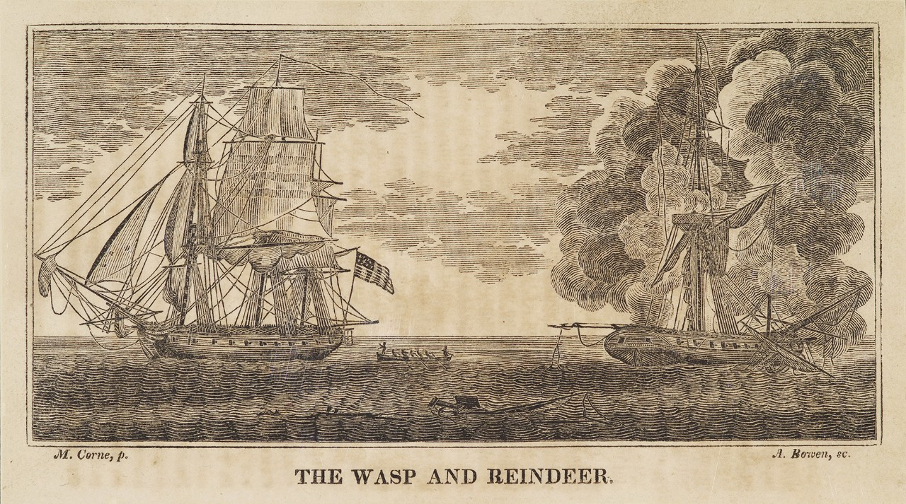 An American ship is on the left with a small boat with men on board in the middle, on the right is a heavily damaged British ship that is on fire