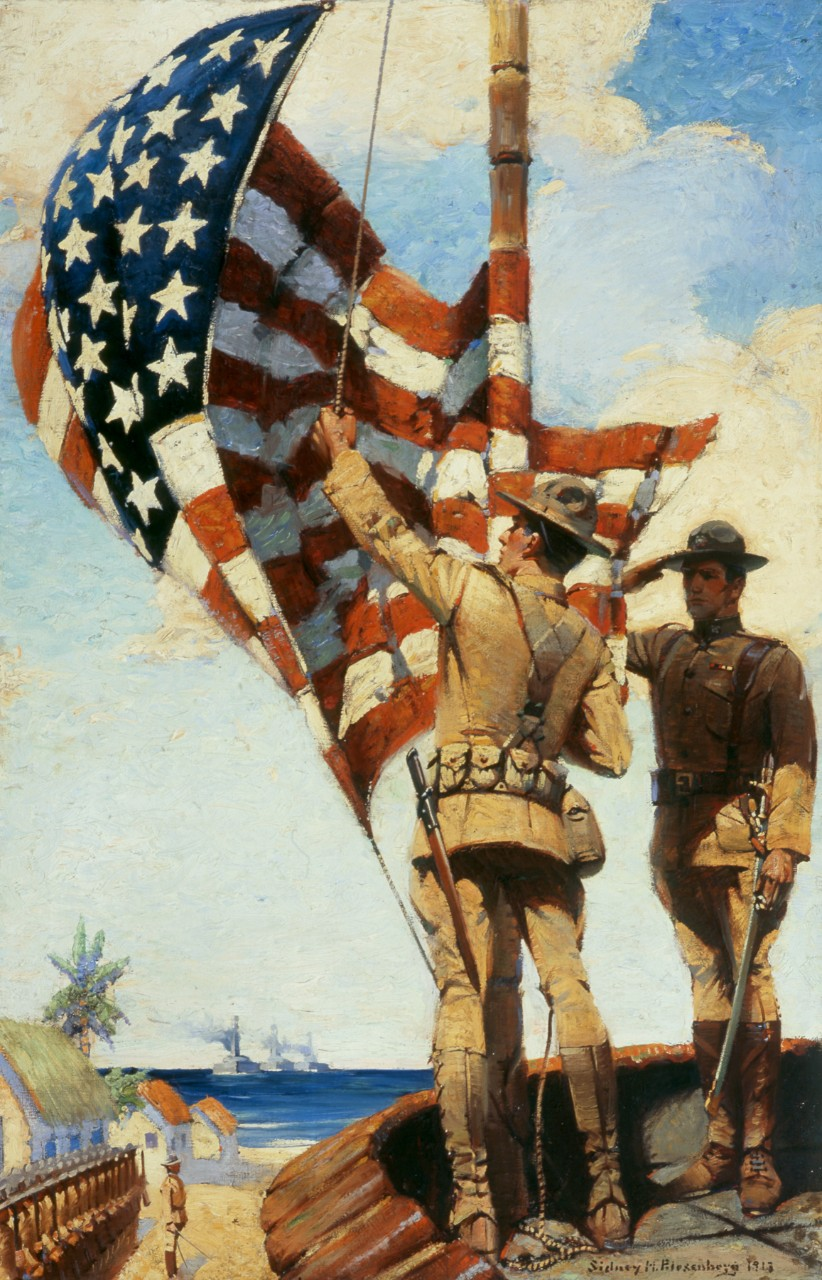 Two marines raising the flag