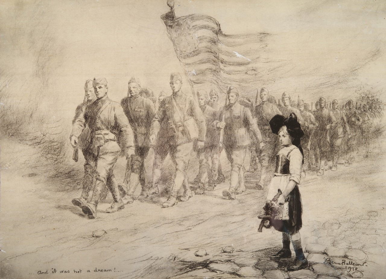 Soldiers marching carrying an American flag a little girl with a basket is in the foreground