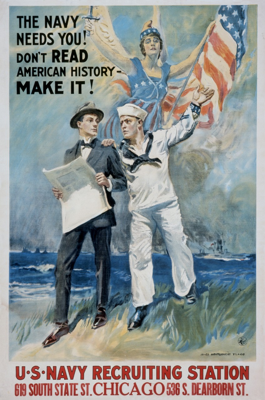 A sailor with his hand on a men's shoulder behind them a women wrapped in the American flag