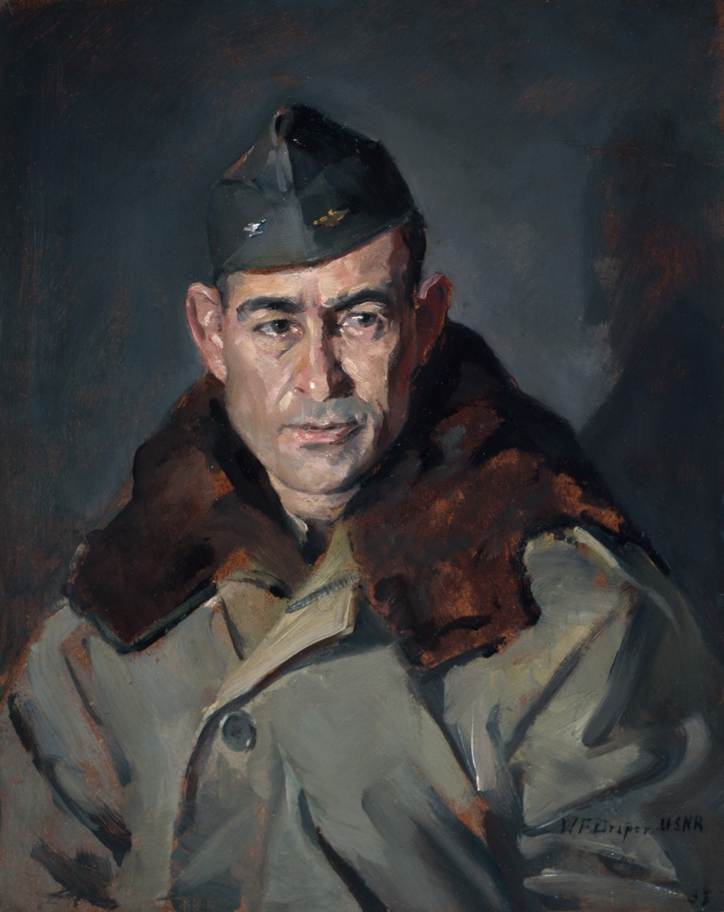 Portrait of a navy officer in a cold weather outerwear