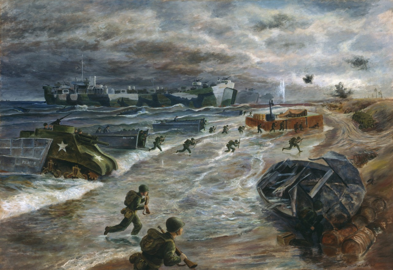 Troops invading a beach