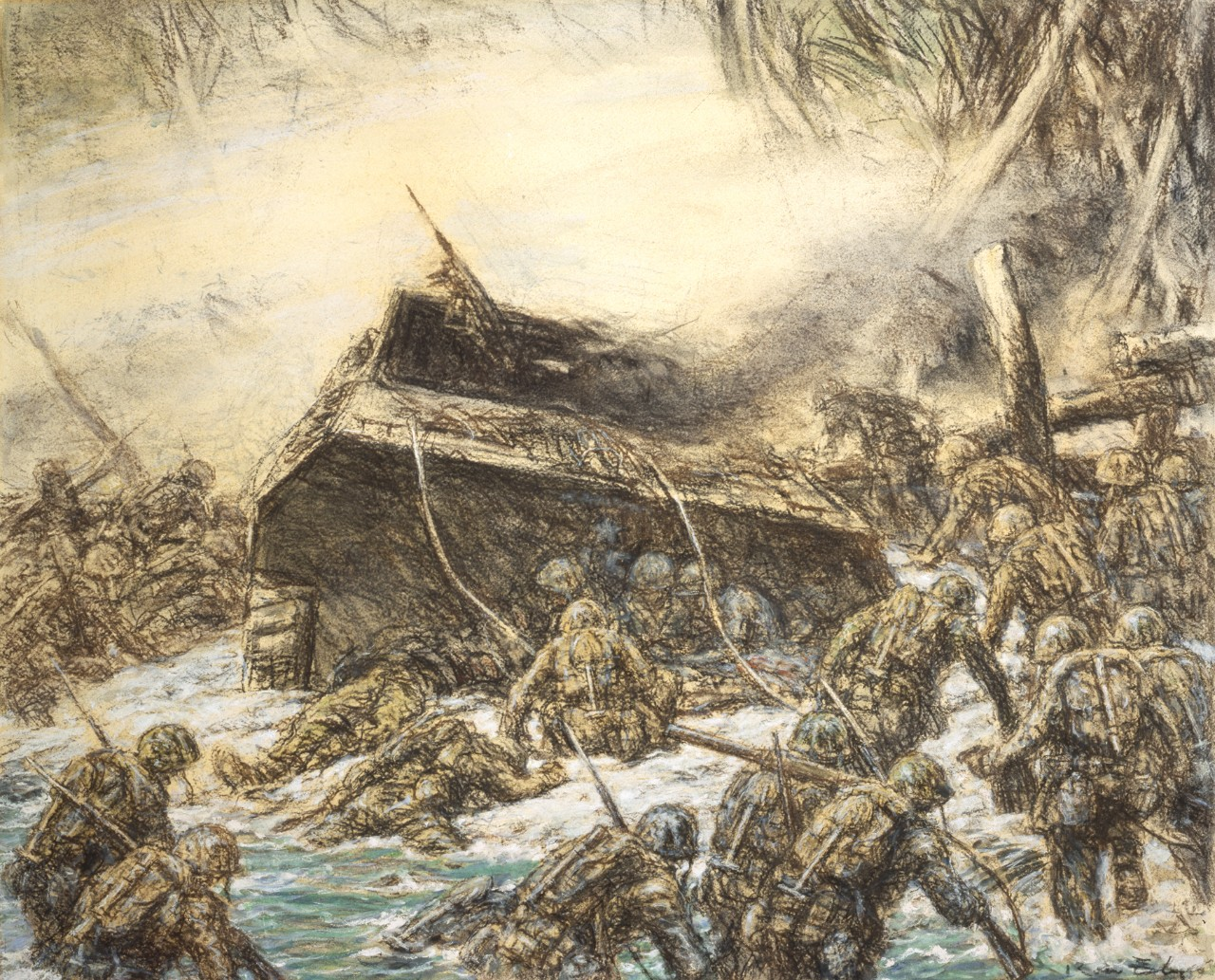Marines on the beach attacking the Japanese