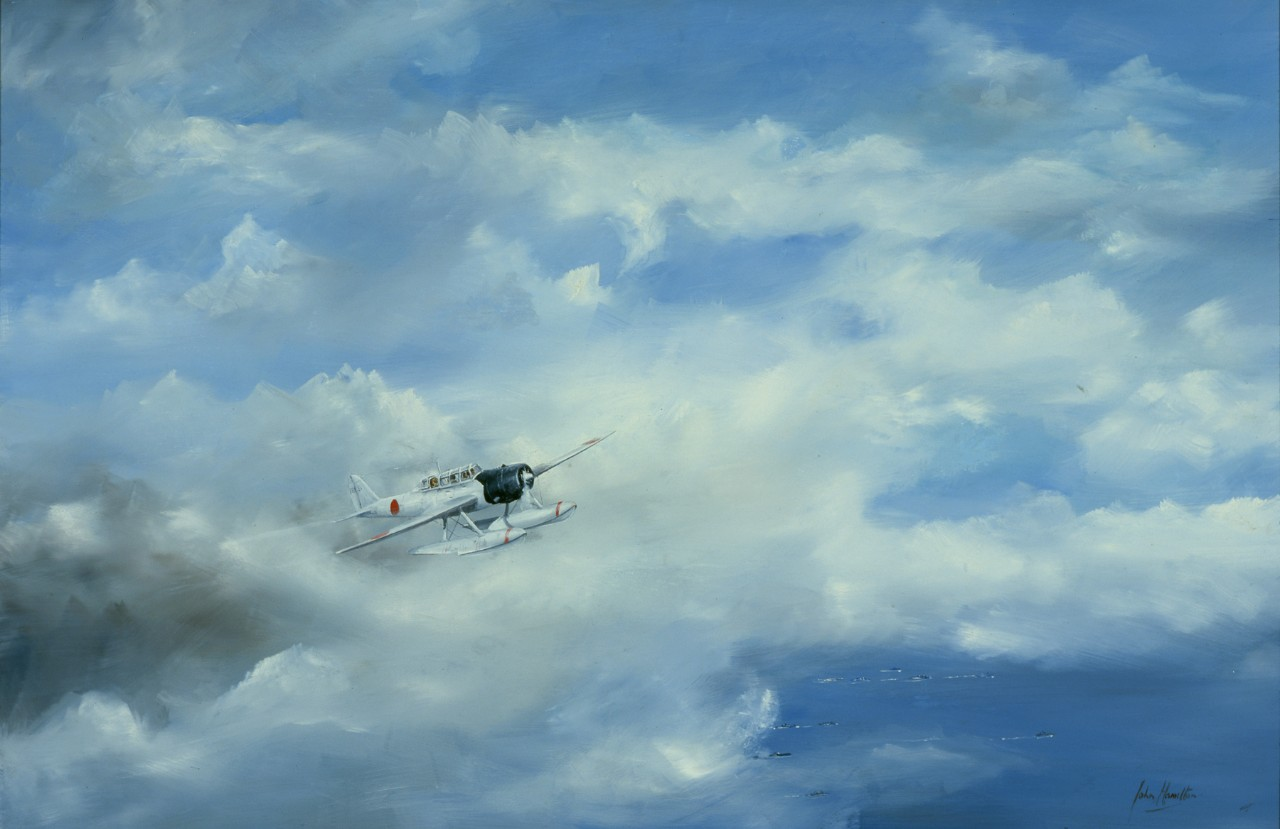 A Japanese plane is flying above the clouds, in the far distance a fleet of ships can be seen