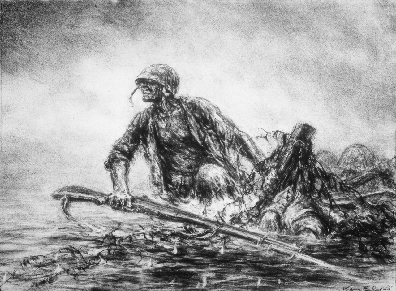 A Marine wading to the shore