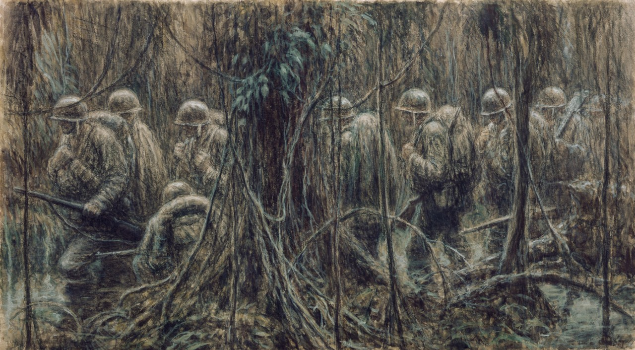 Marines march through the jungle