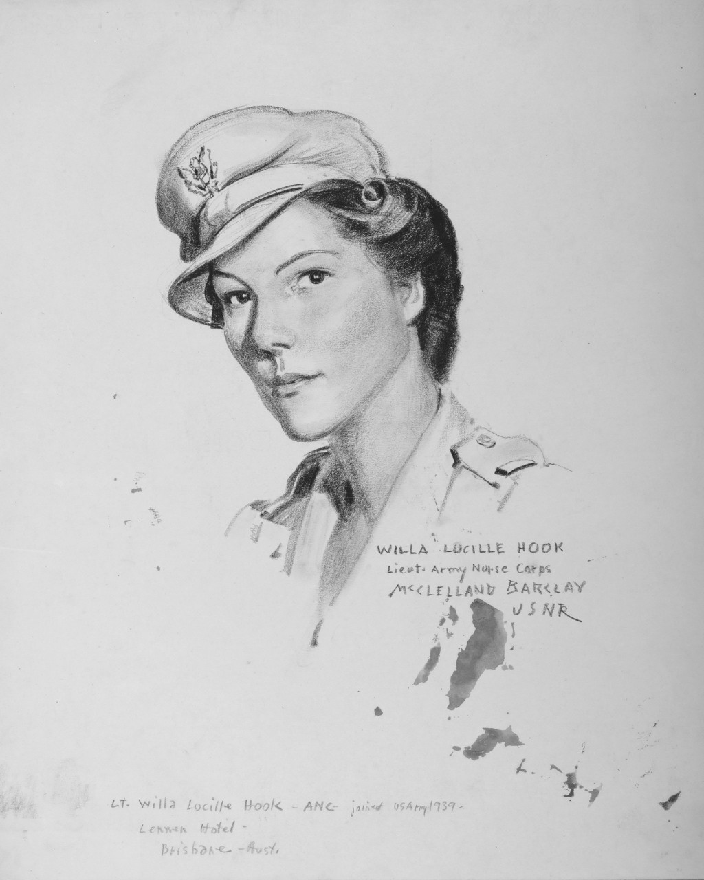 Portrait of LT Willa Lucille Hook, Army Nurse Corps