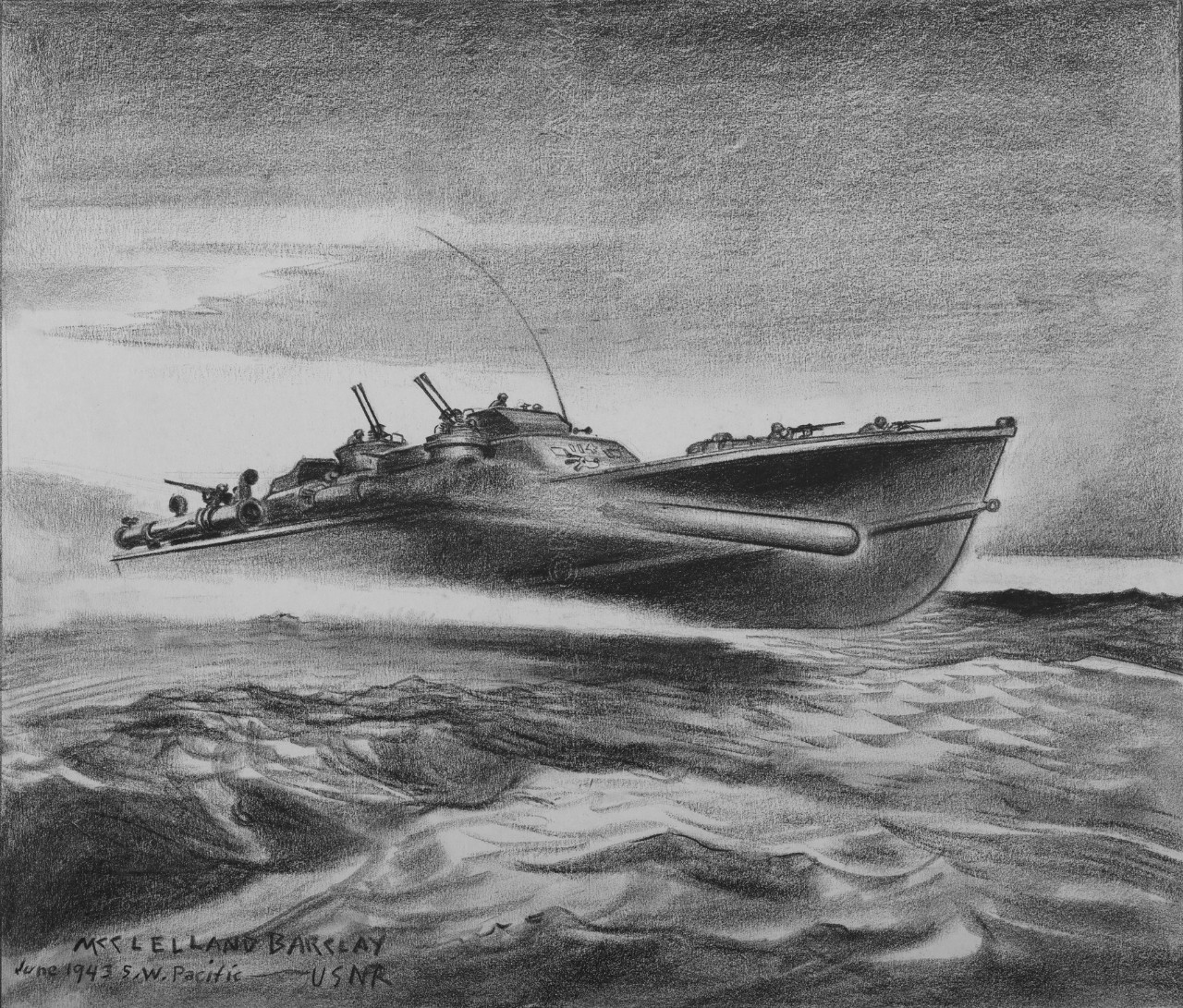 A torpedo boat traveling at high speed firing a torpedo