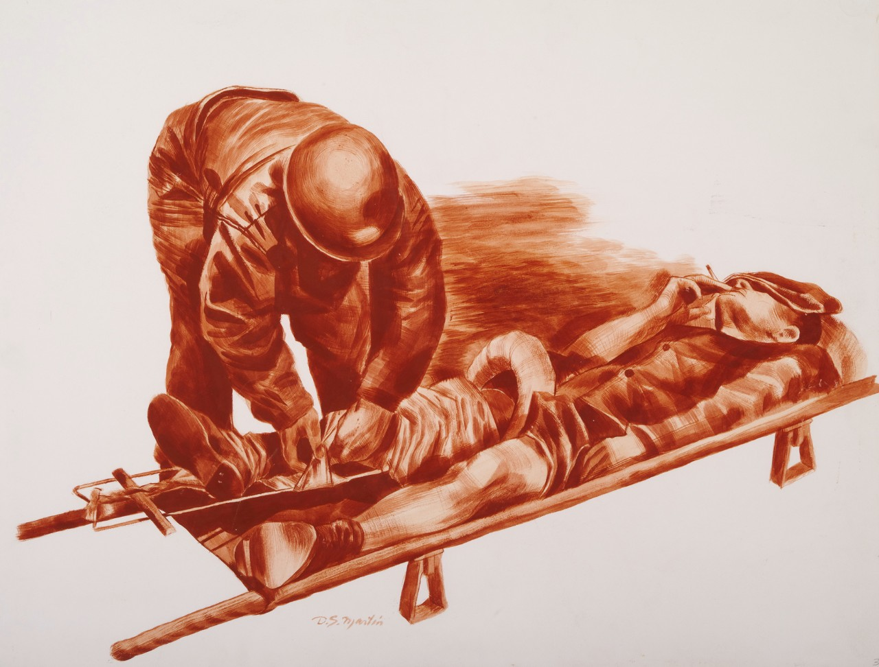 A Navy corpsman tends to a man on a stretcher