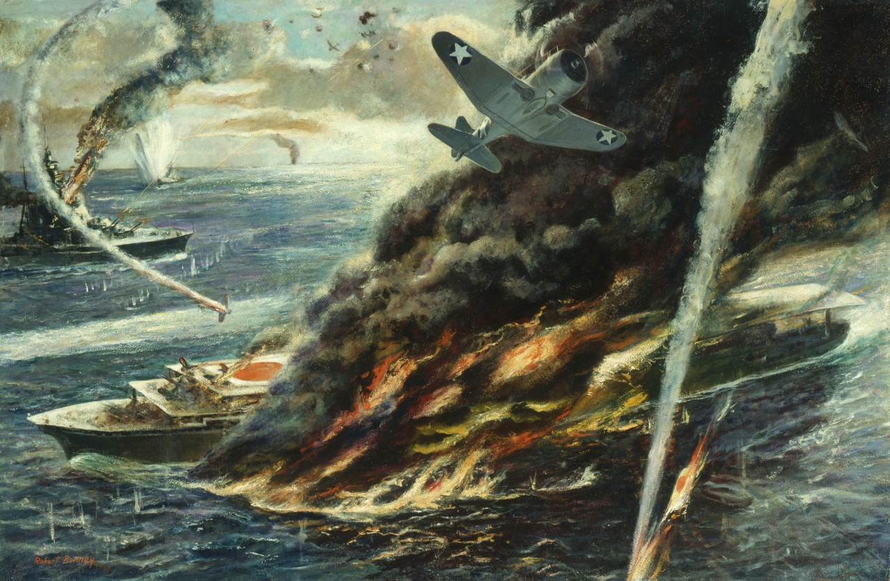 American airplanes attacking Japanese aircraft carrier