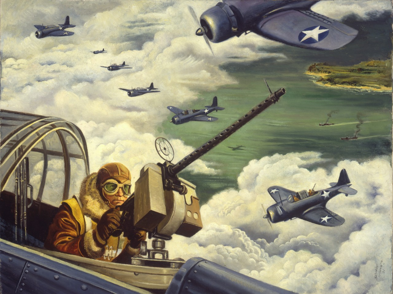 Rear gunner sits in an airplane looking for enemy aircraft