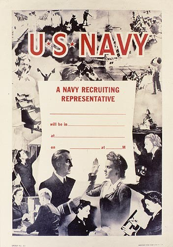 Poster with a photo of a woman being sworn into the Navy