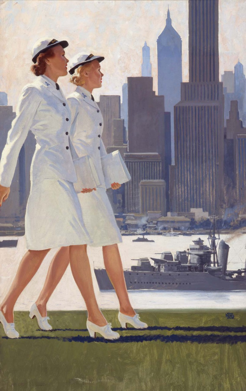 Two women in dress whites walking in front of the New York City skyline