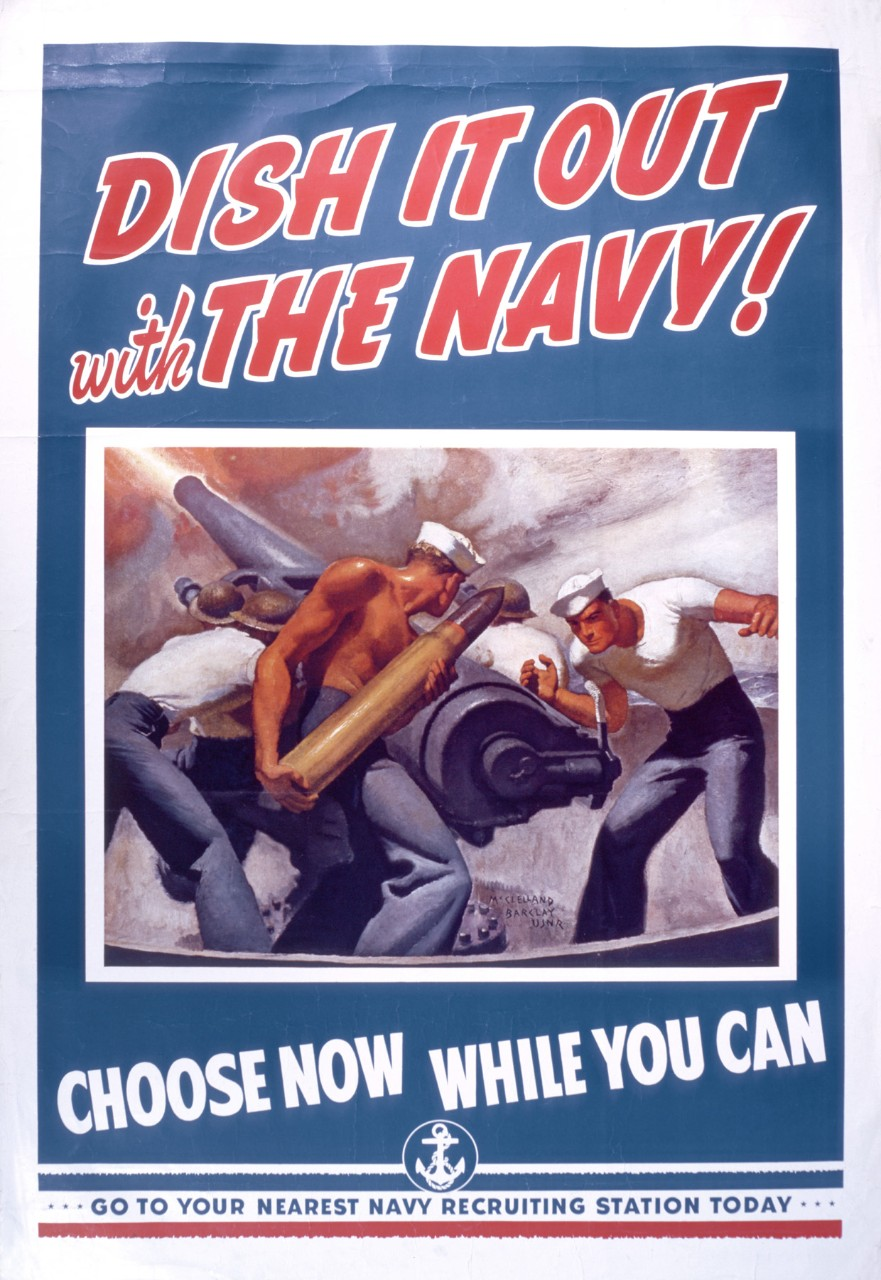 Poster with center image of a gun crew loading a shell into a gun