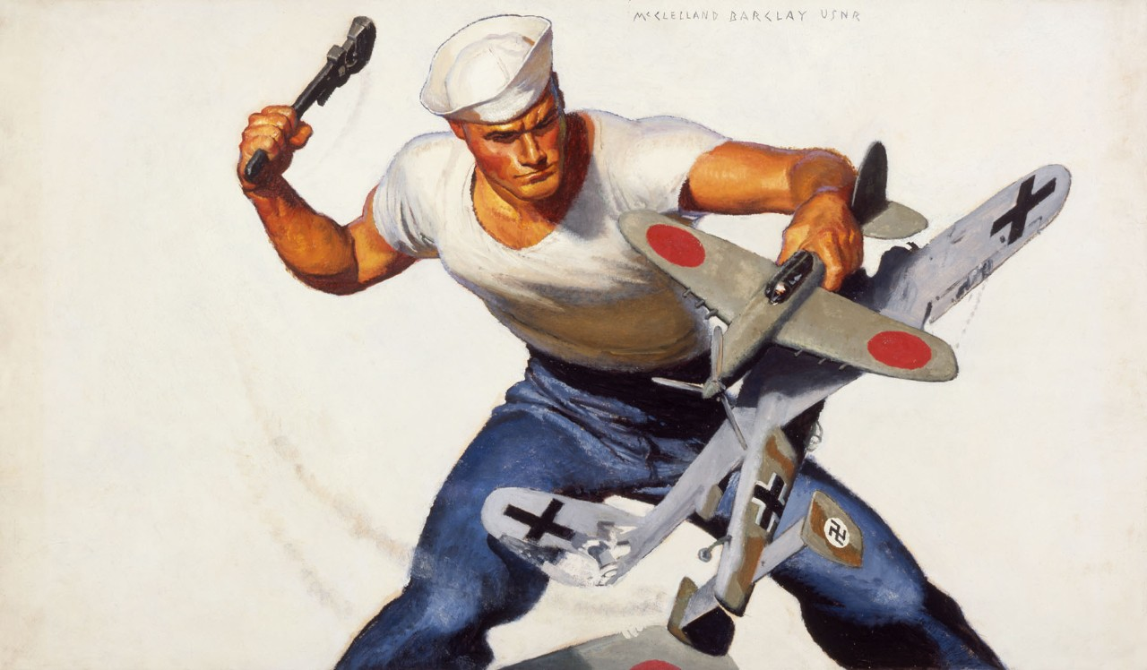 Sailor with hammer poised to strike a model airplane