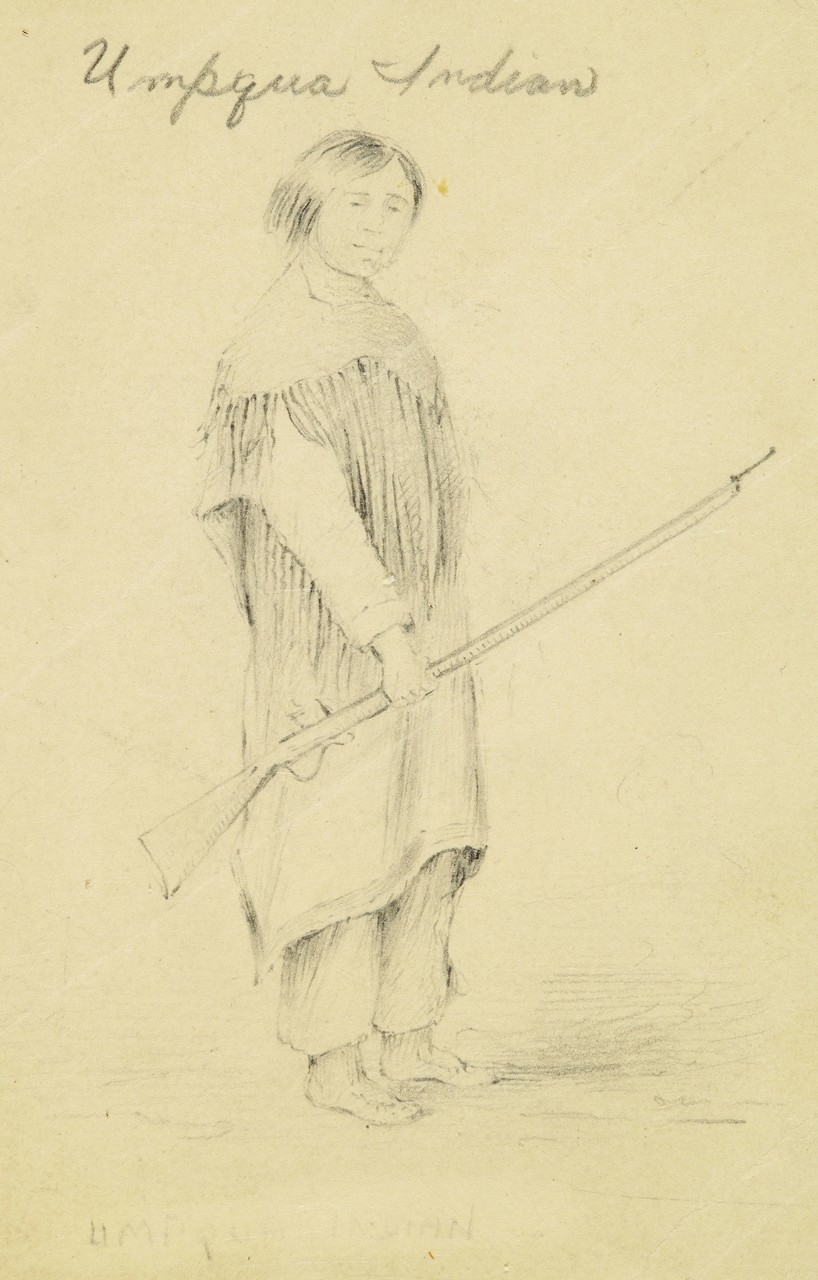 Portrait of a Native American holding a rifle