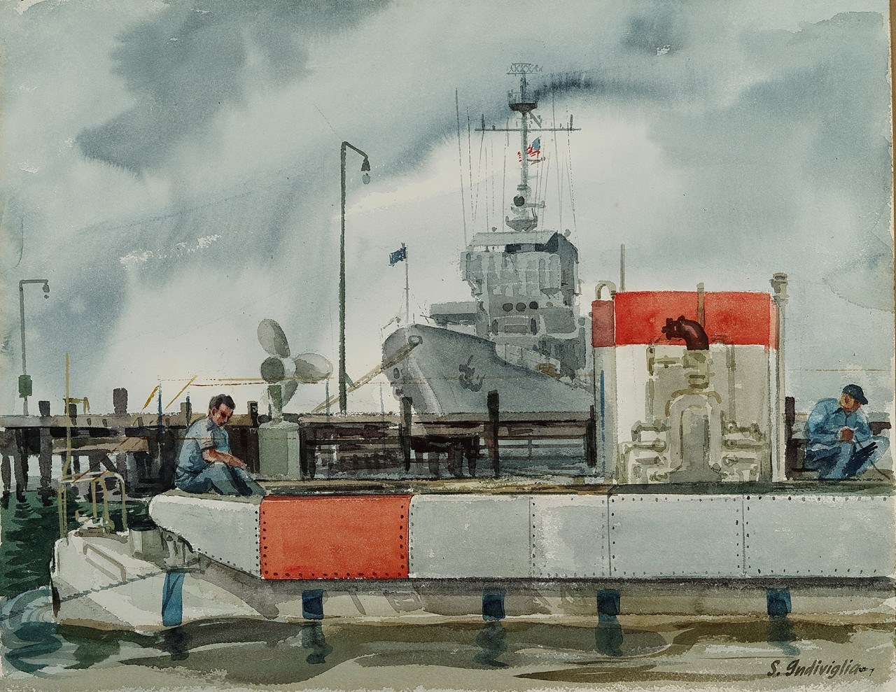 Trieste is tied to a pier with two men working on the deck, behind is another Navy ship