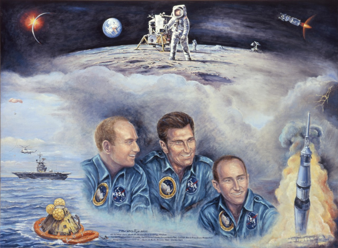 A montage of the mission with portraits of the three astronauts in the center