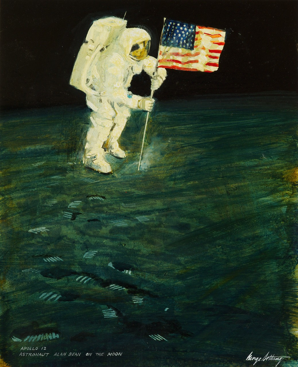 The American flag is planted on the surface of the moon