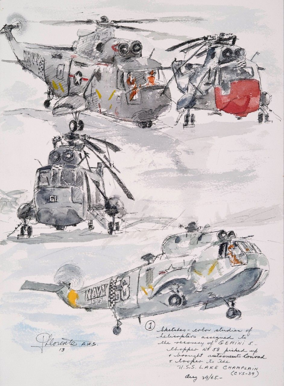 4 vignettes of a helicopter