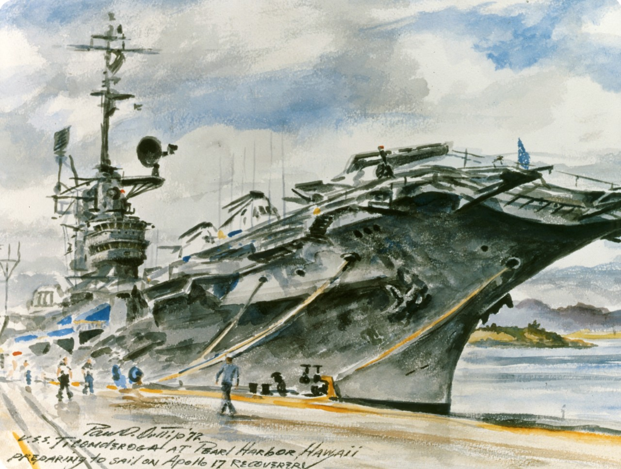 An aircraft carrier tied to a pier