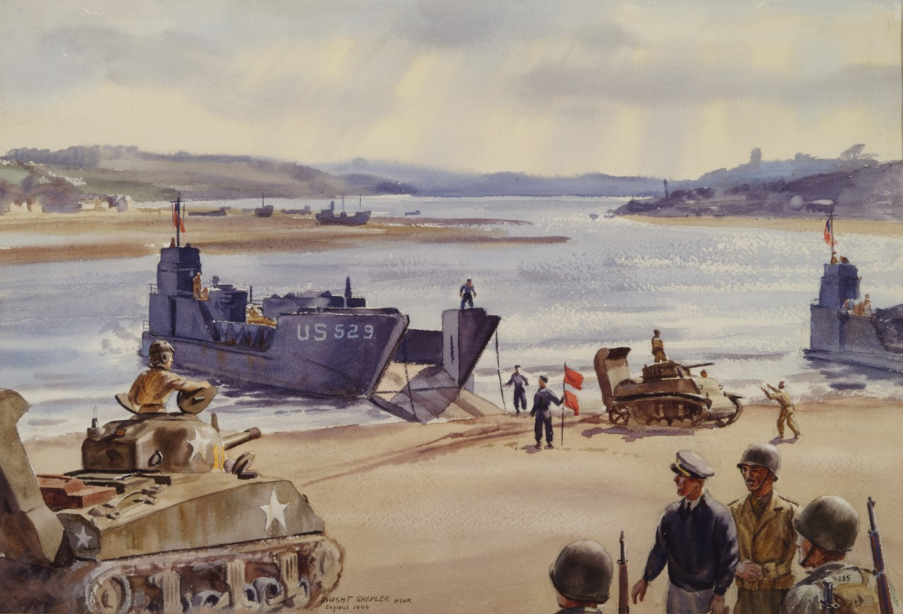 Loading landing craft for D-Day