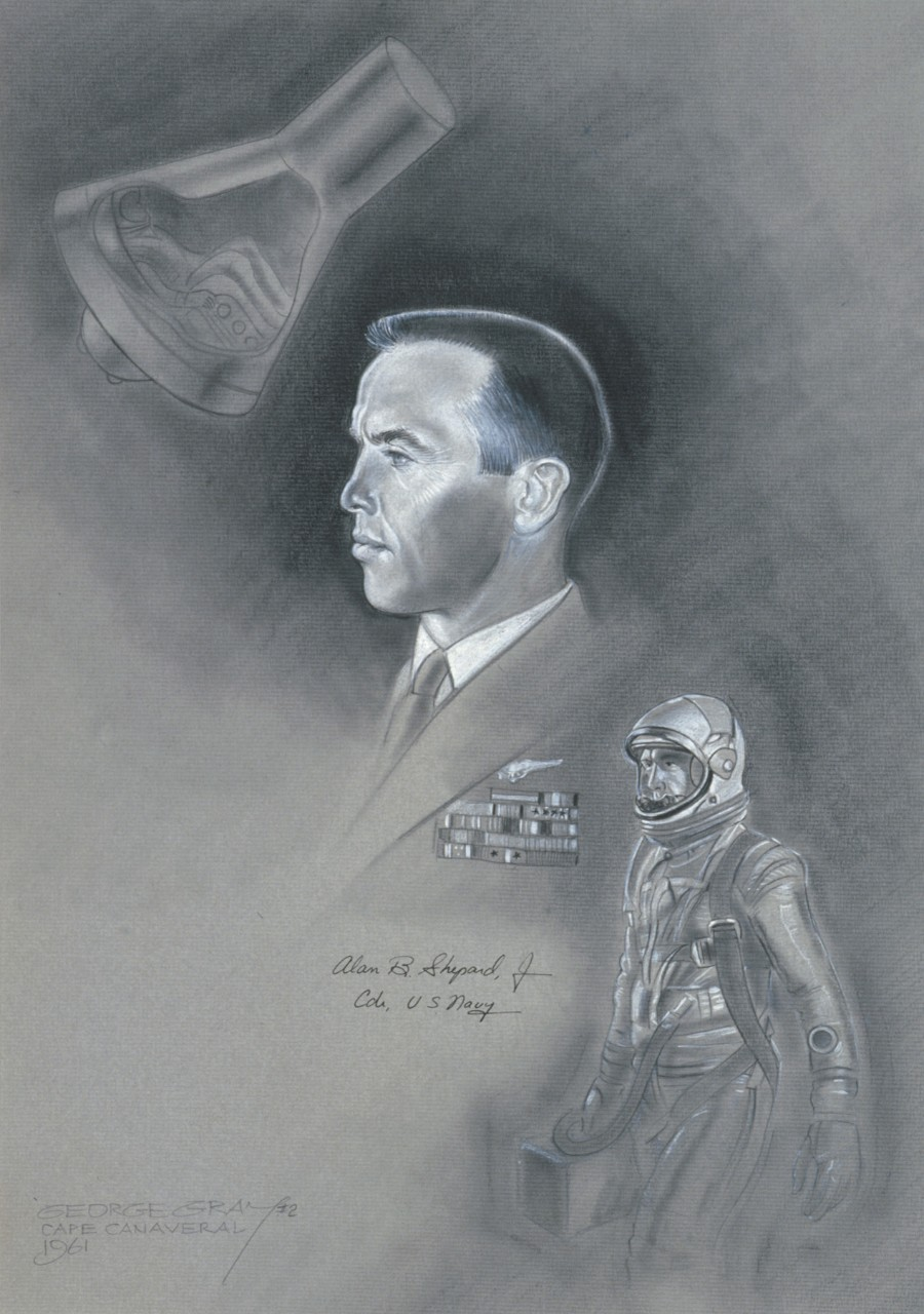 Portrait of Commander Alan Shepard, Jr. in the center upper left is his capsule and bottom right he is wearing his space suit