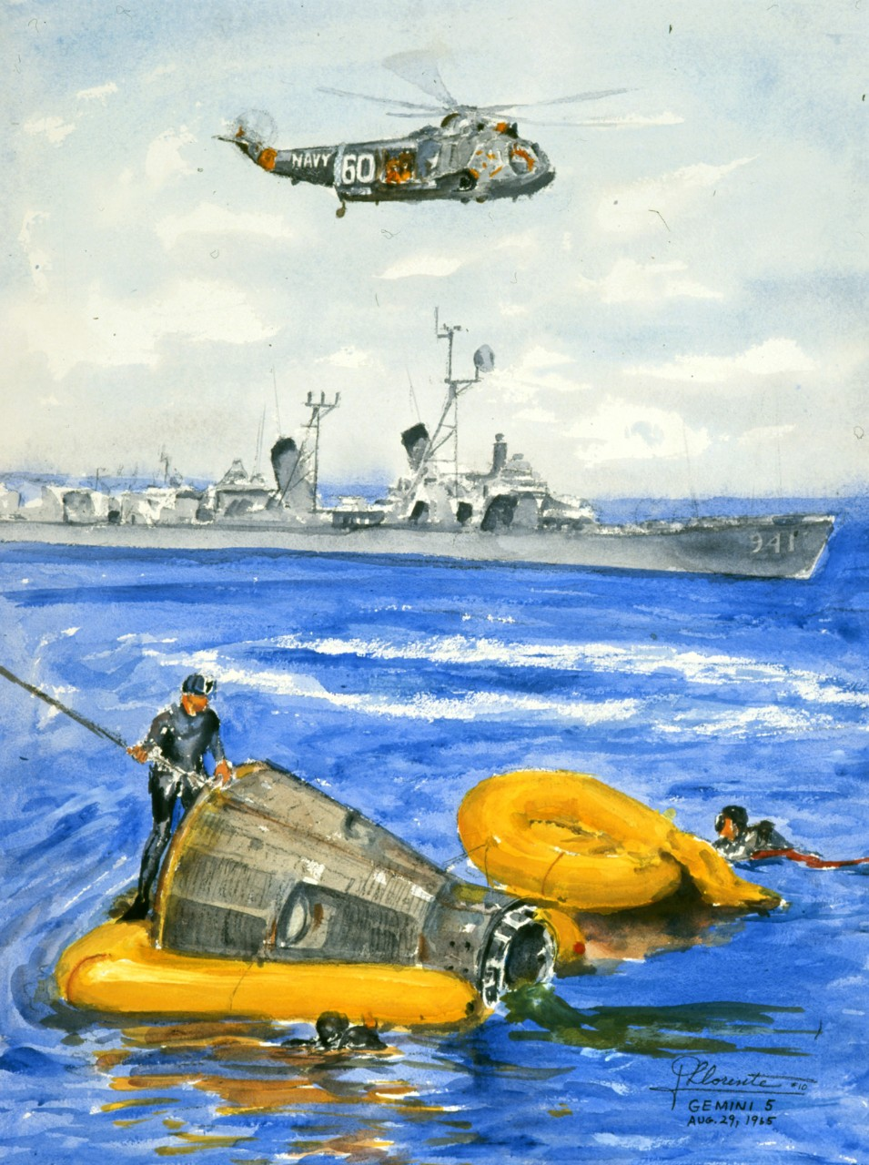 The recovery of a space capsule with a ship in the background and a helicopter flying over head