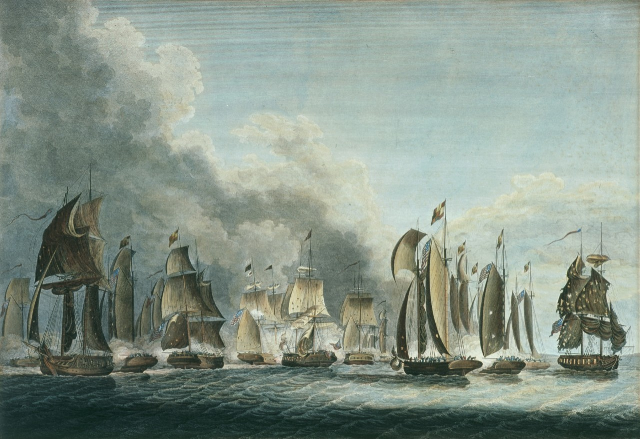 A large battle involving numerous ships