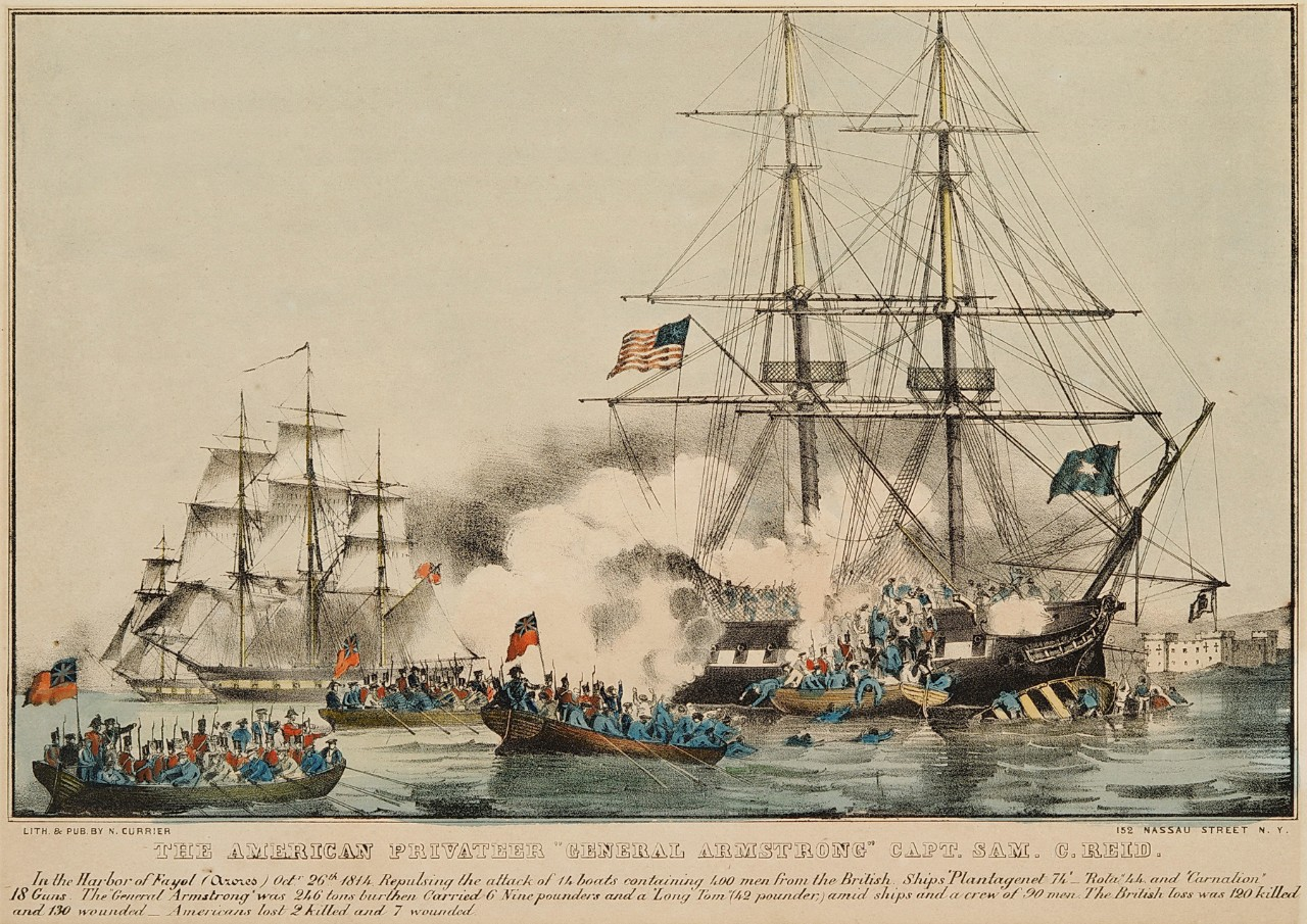 An American flagged ship is firing canons at British flagged ship as sailors from the boats are trying to board