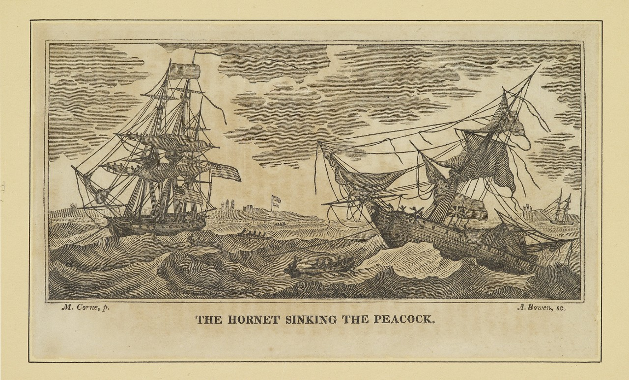 Two sailing ships in battle