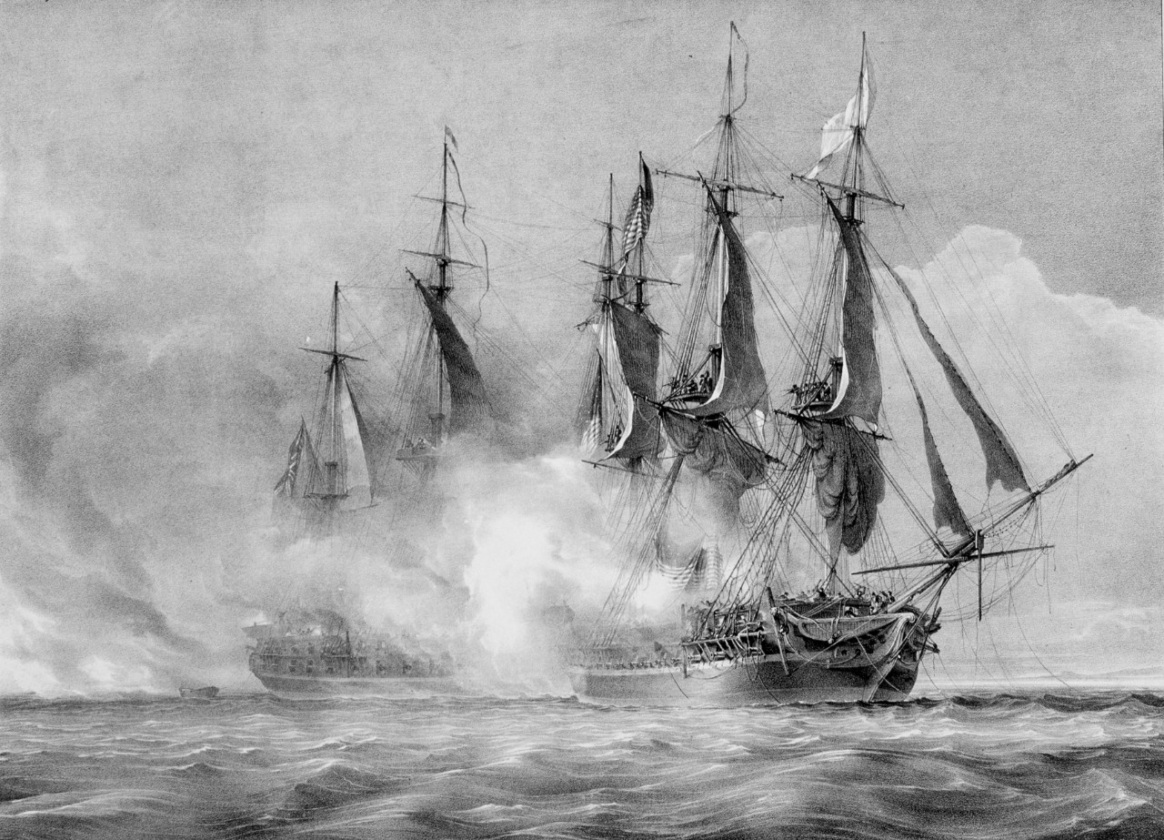 Two sailing ships maneuvering through a cloud of smoke