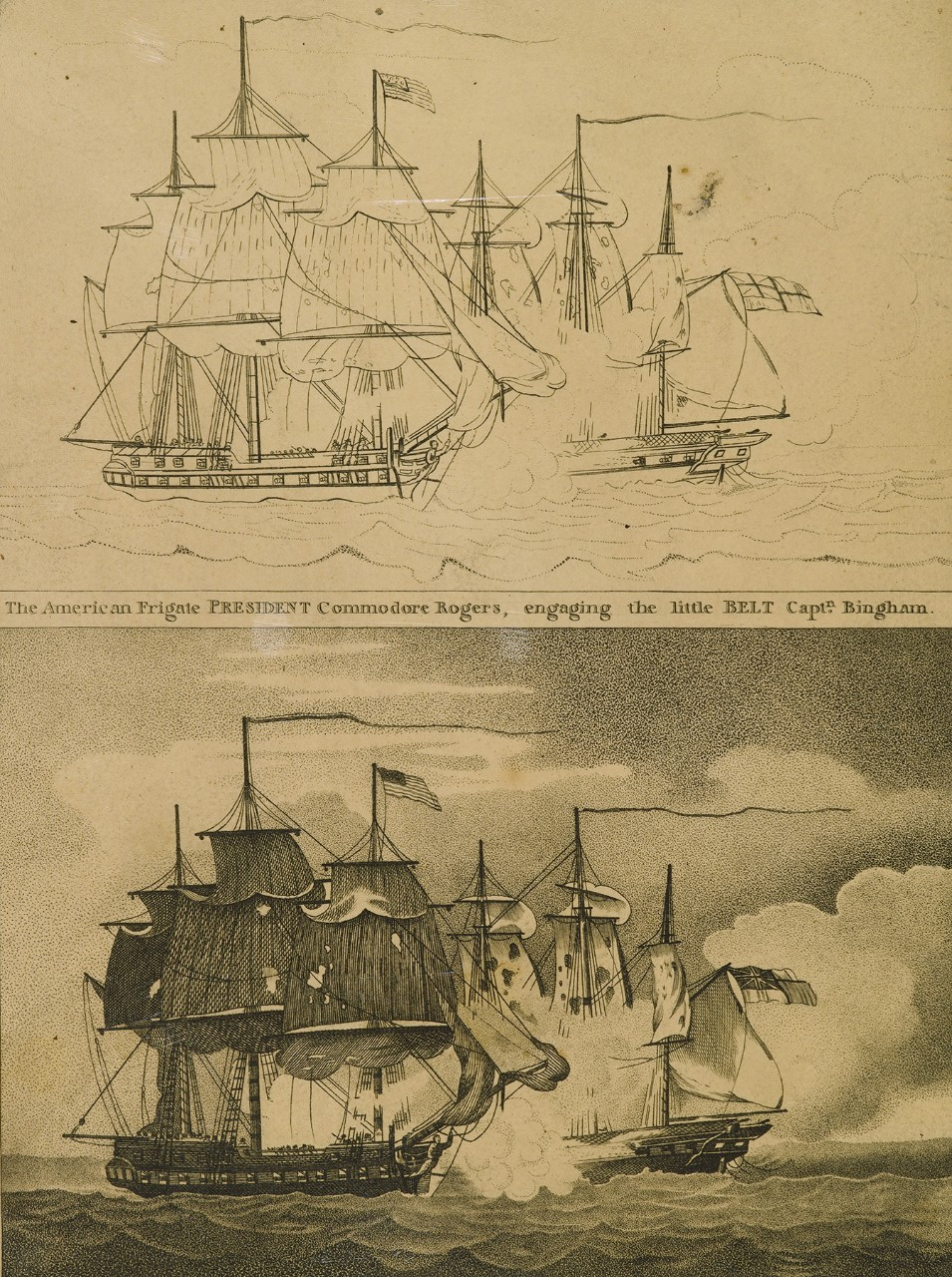 There are two images of the same sailing ship battle the top one is in progress, the bottom one is completed.