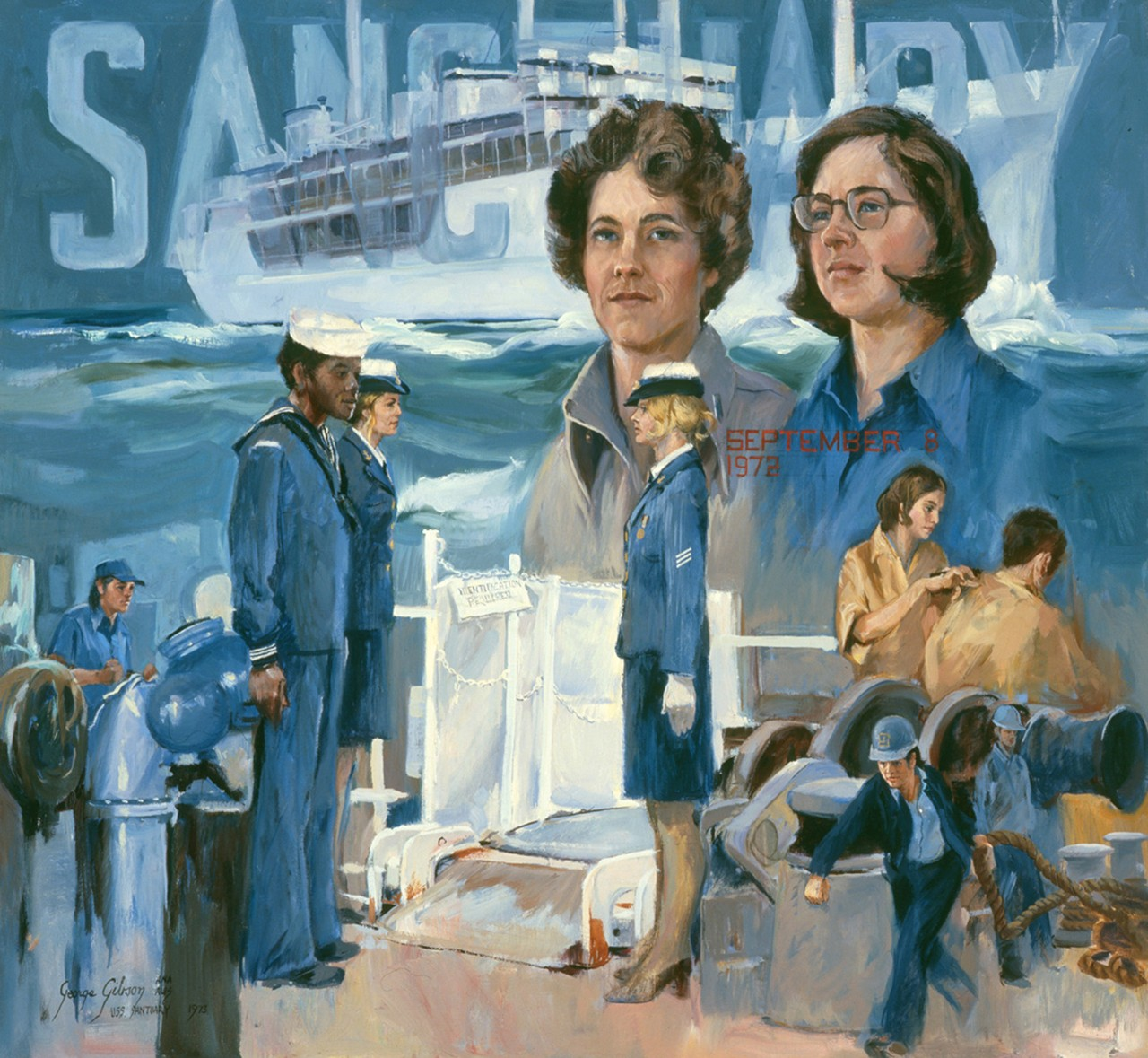 A montage of women and African Americans related to USS Sanctuary