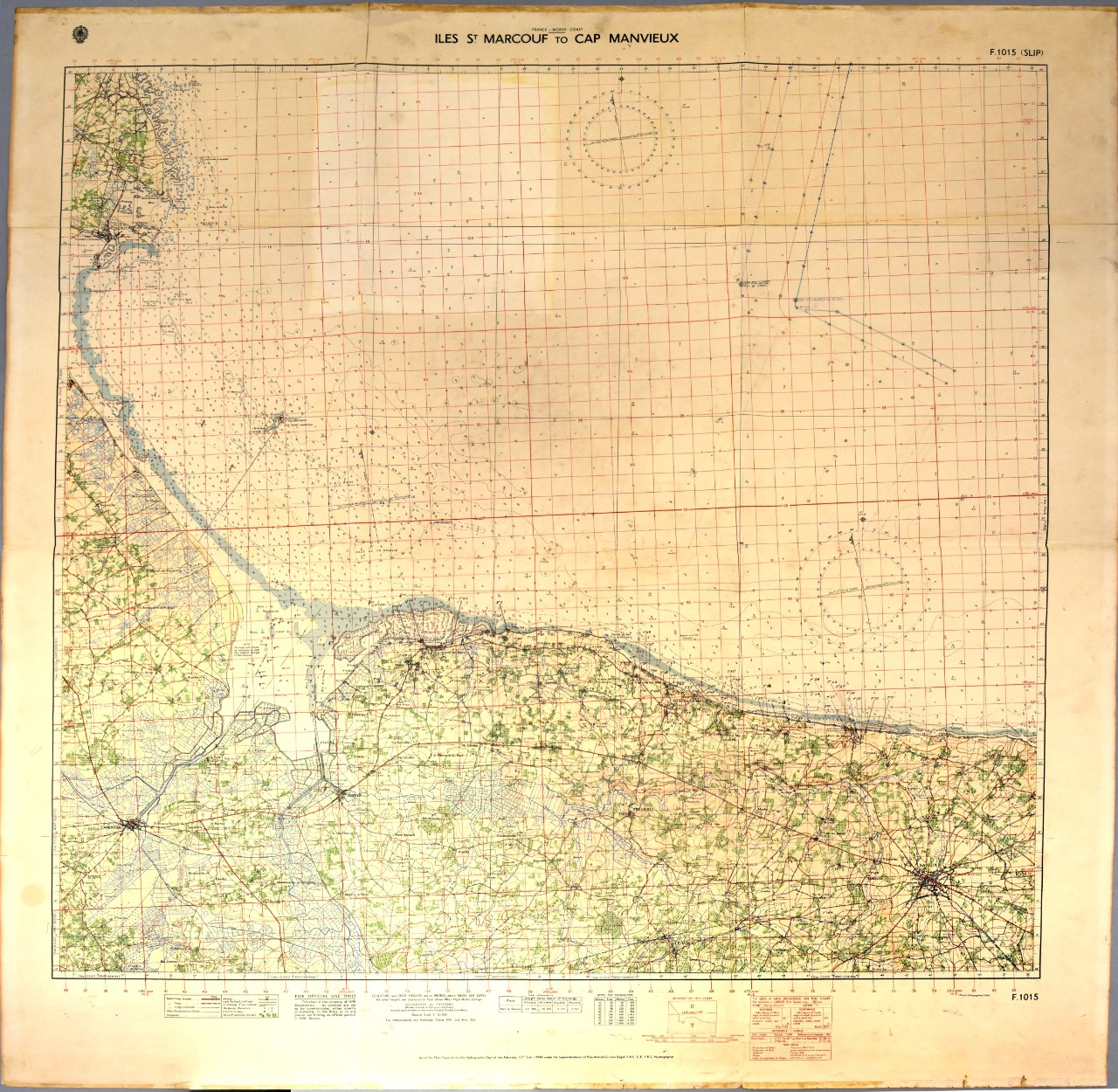 Chart of the coast of France showing Iles St. Marcouf to Cap Manvieux