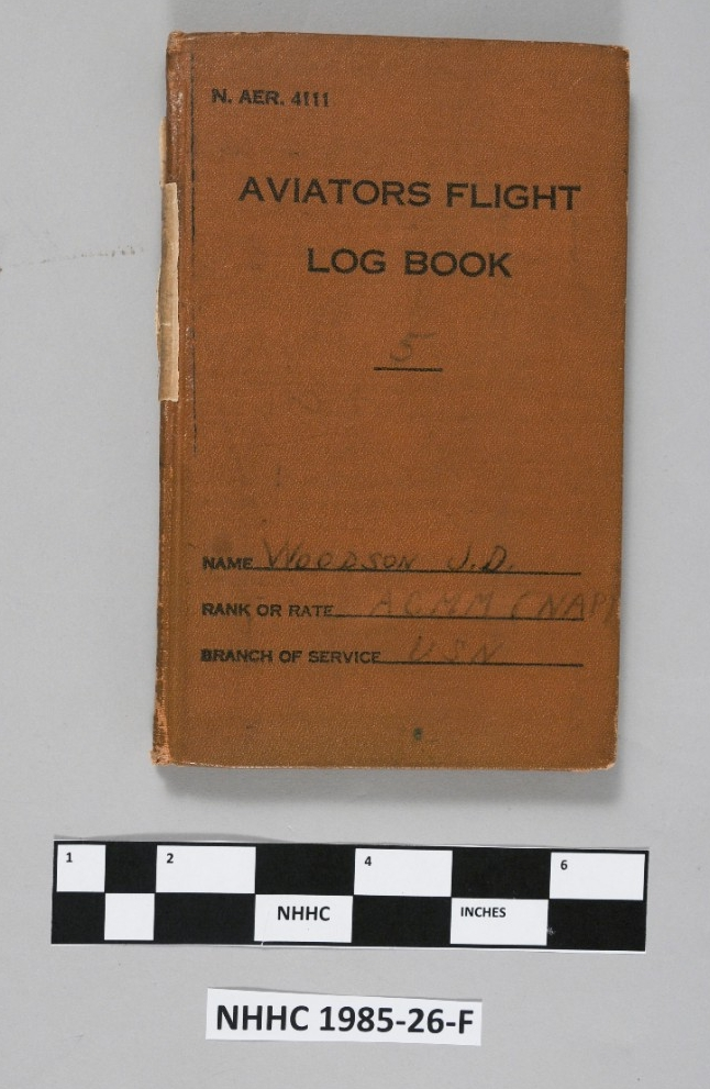 "<p>Aviation flight log of James D. Woodson. The log begins on 9 March 1938, showing his flight times, operations, and planes used as a pilot with Torpedo Squadron 8 (VT-8). The brown cover is embossed ""N.AER.4111 / Aviators Flight / Log Book / 5 / Name: Woodson J.D. / Ranke or Rate: ACMM (NAP) / Branch of Service: USN."" </p>"