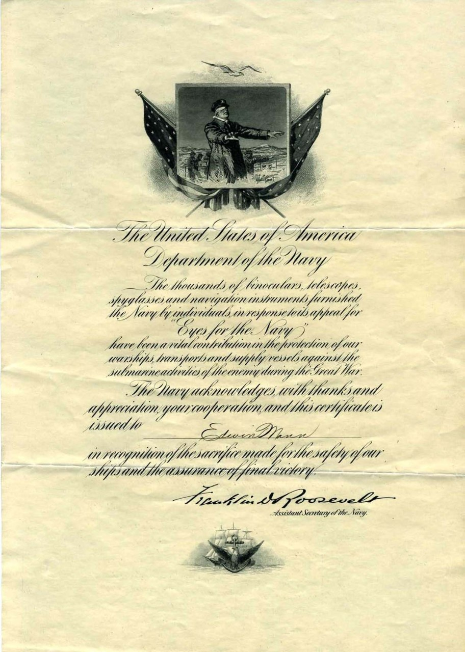 Certificate, Award, Eyes for the Navy, Navy, US