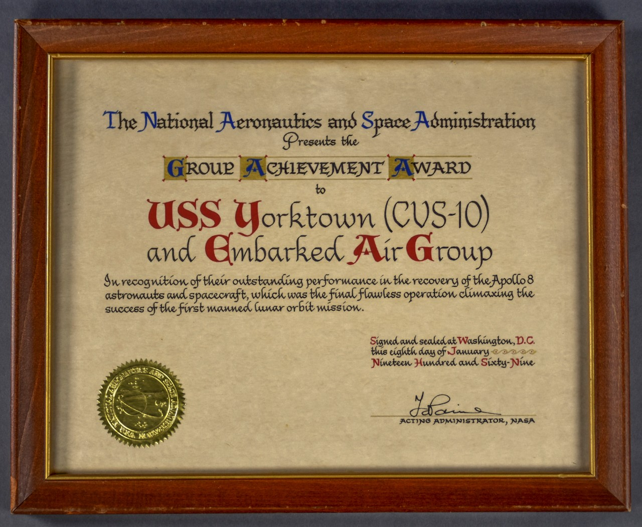 One certificate in old engish lettering given to USS yorktown crew on successful recovery for apollo 8