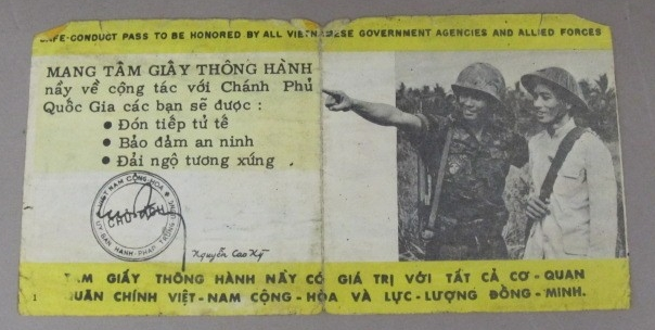 <p>Safe Conduct Pass, US Soldiers, Vietnam, Reverse</p>
