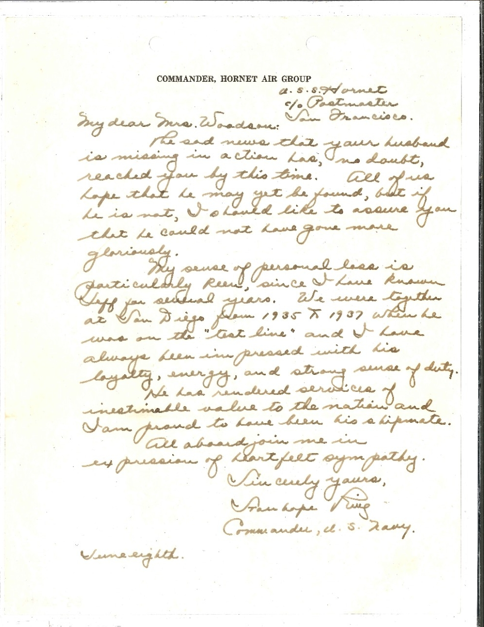 Handwritten letter to Mrs Woodson concerning her husband MIA