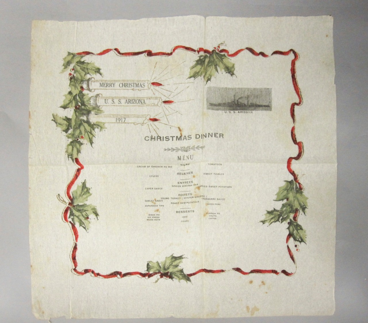 <p>Christmas Menu Napkin USS Arizona 1917</p>
