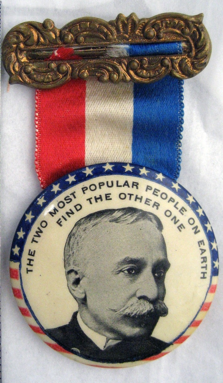 <p>Presidential Campaign pin and ribbon Admiral George Dewey</p>