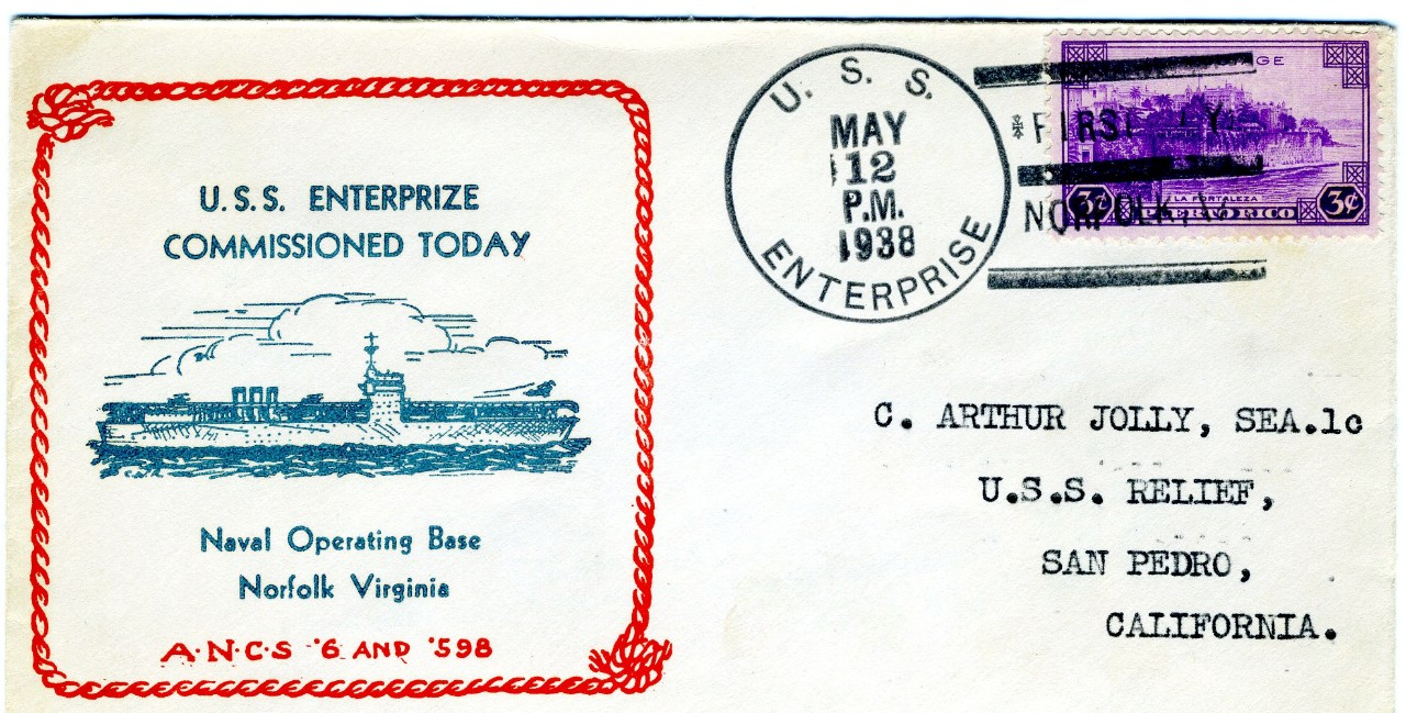 Philatelic Cover, Commissioning USS ENTERPRISE 12 May 1938