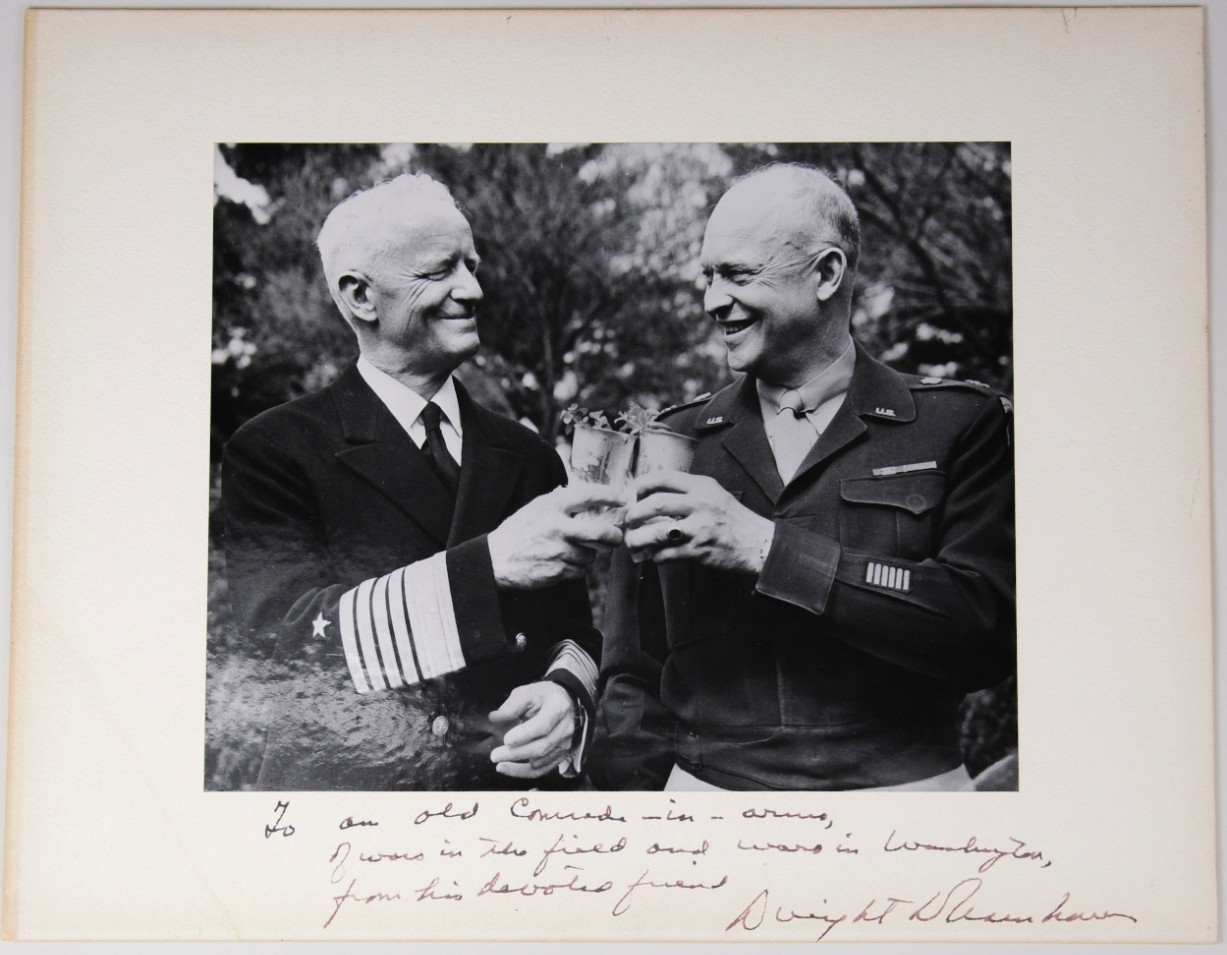 <p>Photo FADM Nimitz and General of the Army Eisenhower signed and matted</p>