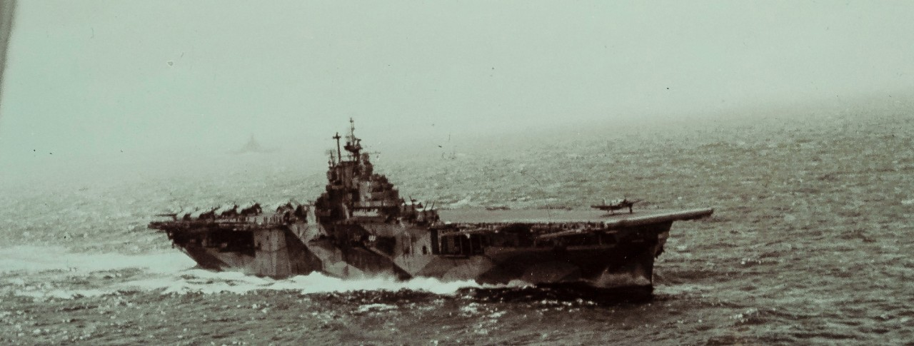 <p>Cropped Photoshopped Banner of USS Intrepid with Dazzle at Battle of Surigao Strait</p>