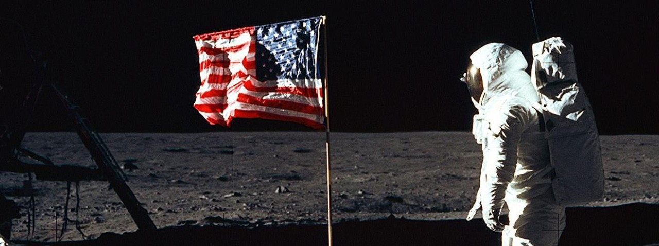 <p>NASA Image of Buzz Aldrin and US Flag on the Moon&nbsp;</p>