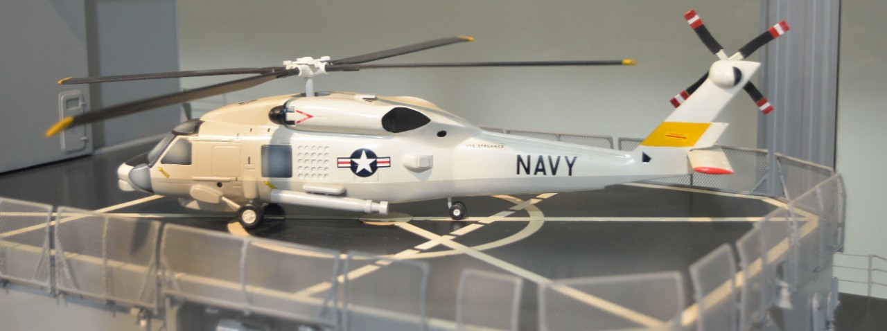 Model of US Destroyer helicopter on landing pad