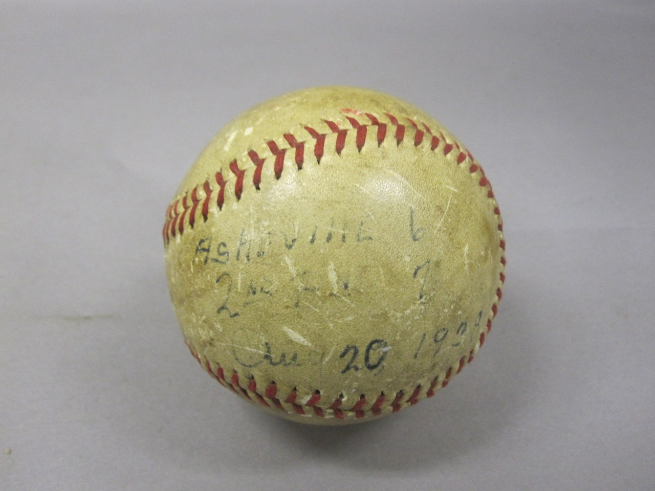 White baseball with red stitching used in game signed with score and date