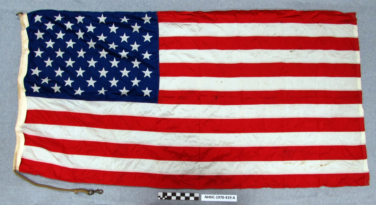 50 star us national flag/navy ensign flown on uss escape
