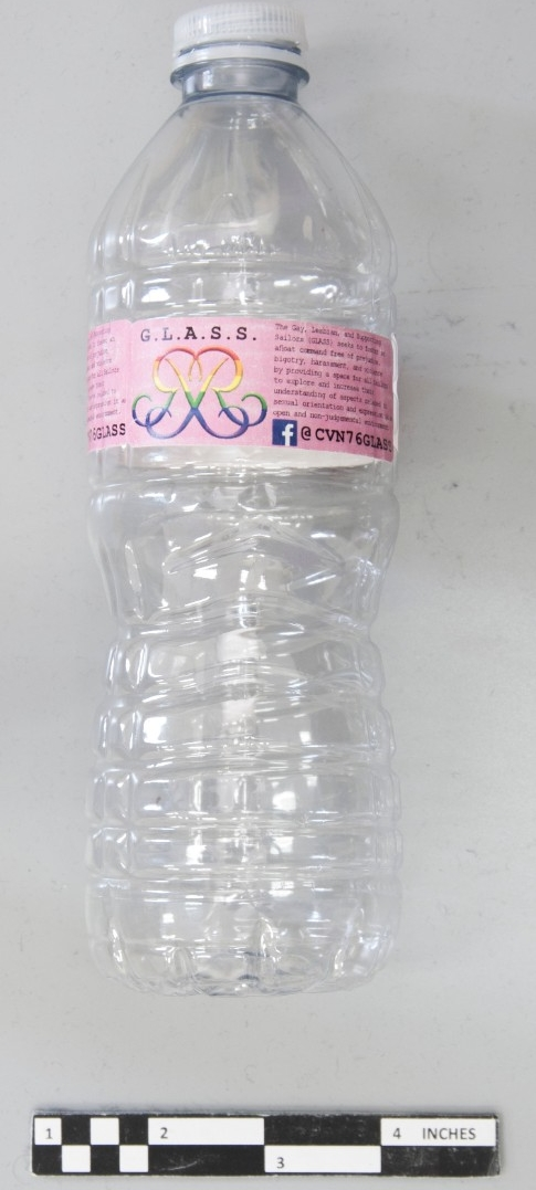 <p>water bottle with custom pink lable&nbsp;</p>